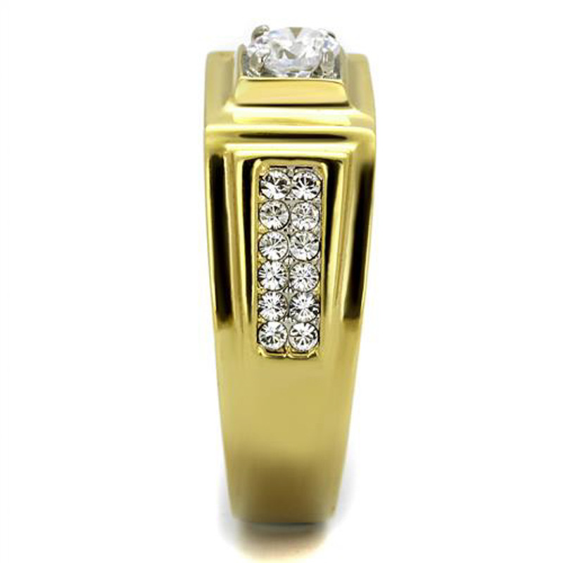 ARTK2222 Stainless Steel Men's 1.18 Ct Faux Diamond 14k Gold Ion Plated Ring Sizes 8-13