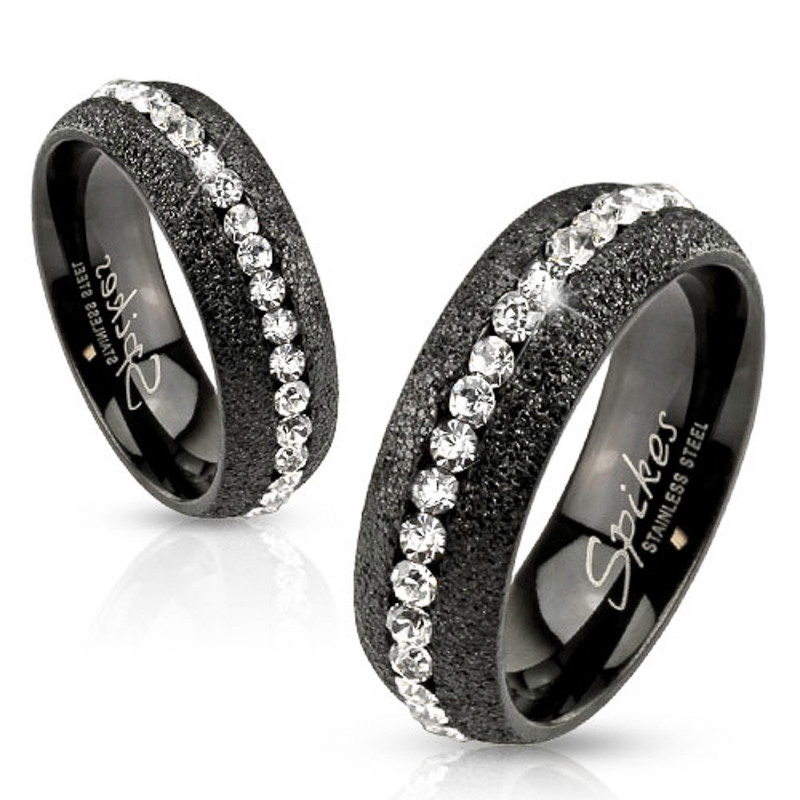 ARH78476 Stainless Steel Glittery Black Ion Plated Zirconia Wedding Band Ring Size 5-13