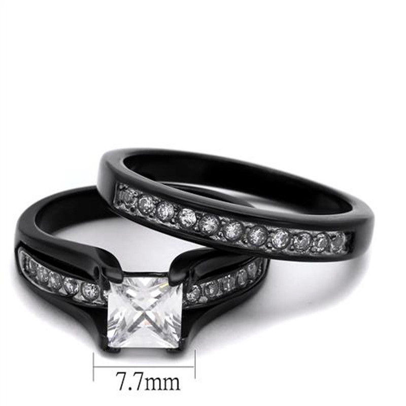 ARTK0W383J  Stainless Steel 2.10 Ct Princess Cut Zirconia BlackWedding Ring Set Womens Size 5-10