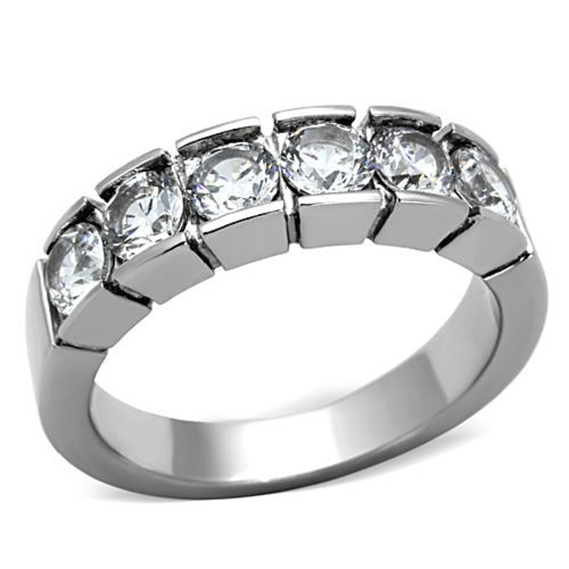 1.50 CT ROUND CUT CZ STAINLESS STEEL 316 WEDDING BAND RING WOMEN'S SIZES 5-10