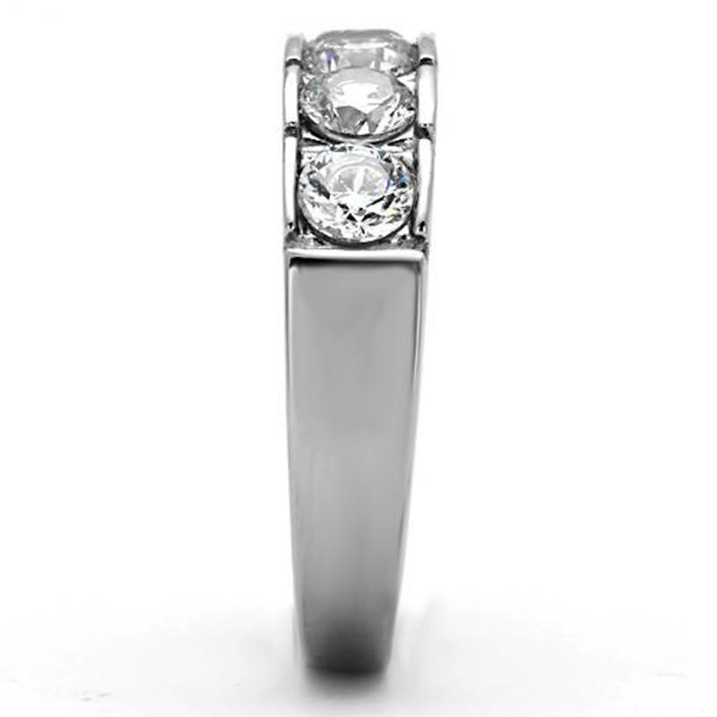 ARTK1082 Stainless Steel 1.50 Ct Round Cut Cz 316 Wedding Band Ring Women's Sizes 5-10