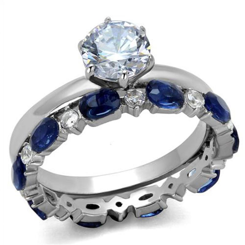 ARTK2175 Stainless Steel 2.25 Ct Round Cut Clear & Blue CZ Wedding Set Women's Size 5-10
