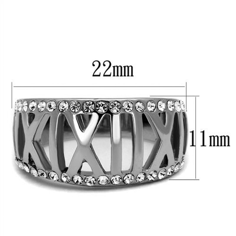 ARTK2257 Stainless Steel Women's Roman Numeral Crystal Anniversary Ring Band Size 5-10