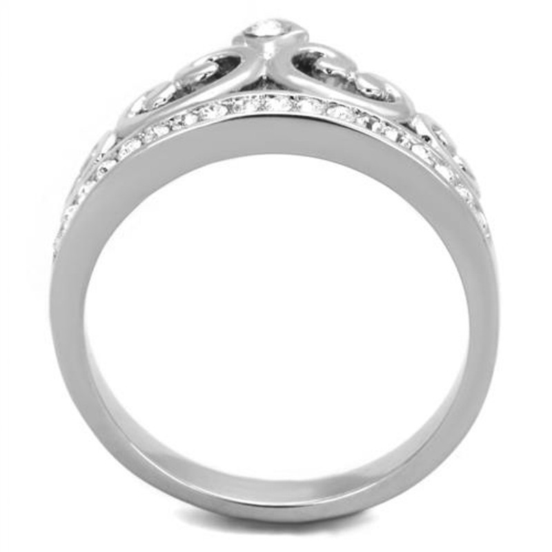 ARTK1821 Stainless Steel Princess Royalty Crystal Crown Silver Fashion Ring Women's 5-10