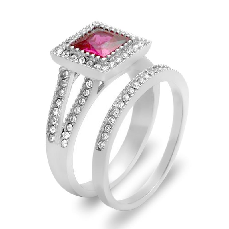 ARTK2293 Stainless Steel 1.64 Ct Princess Cut Ruby Zirconia Halo Wedding Ring Set Sz 5-10