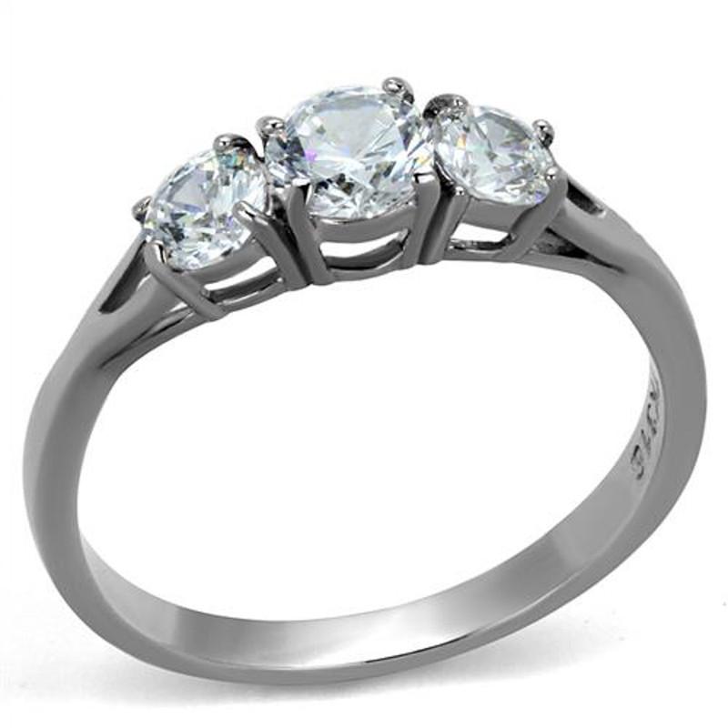 Women's Three Stone .96 Ct Zirconia Stainless Steel Anniversary Ring Size 5-10