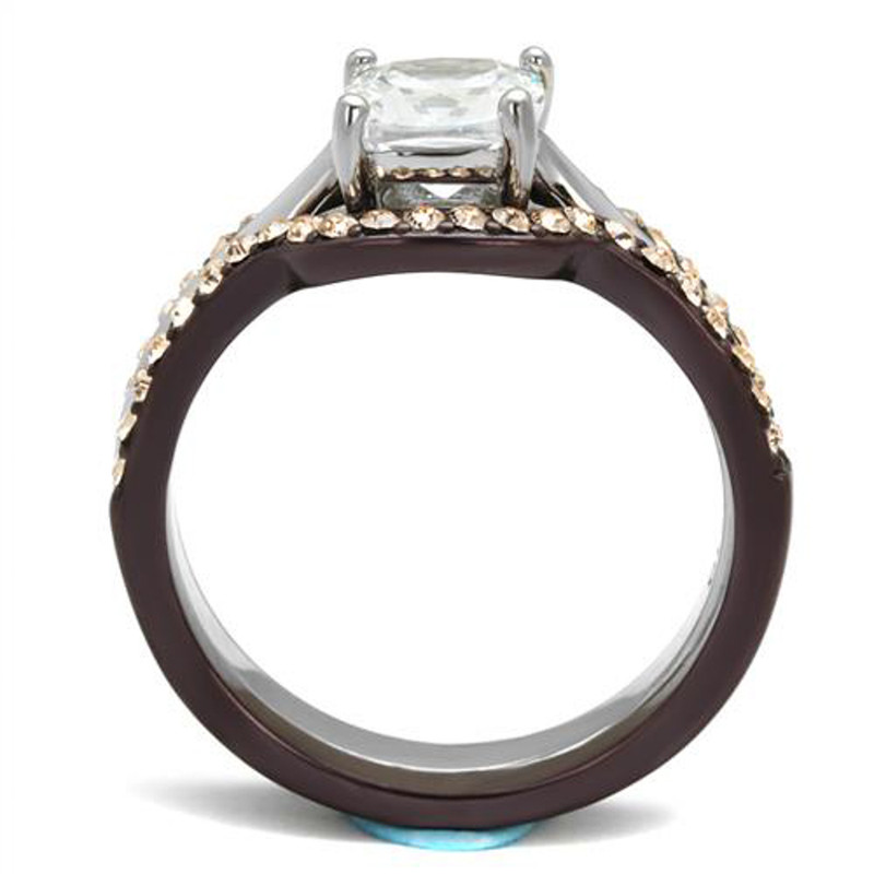 ARTK1343PC Stainless Steel 1.85 Ct Cushion Cut CZ Brown Wedding Ring Set Women's Size 5-10