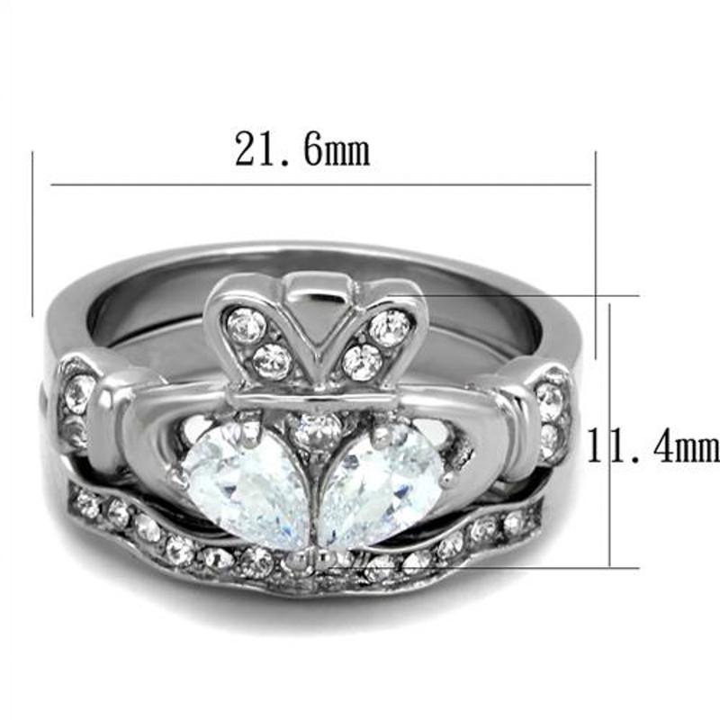 ARTK2119 Stainless Steel Irish Claddagh AAA CZ Wedding Ring Band Set Women's Size 5-10
