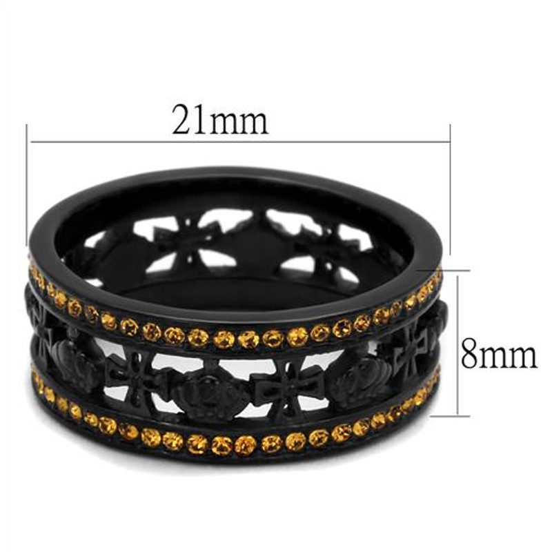 ARTK2204 Stainless Steel Womens Black Ion Plated Topaz Crystal Crown & Cross Ring Sz 5-10