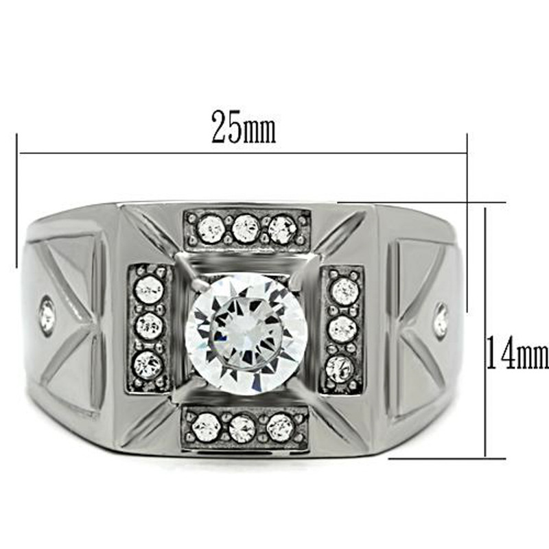 ARTK486 Men's 1.24 Ct Round Cut Simulated Diamond Silver Stainless Steel Ring Sizes 8-13