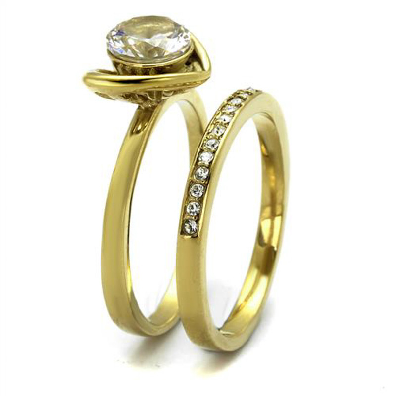 ARTK2295 Stainless Steel 1.36Ct Round Cut Cz Gold Plated Wedding Ring Set Women's Sz 5-10