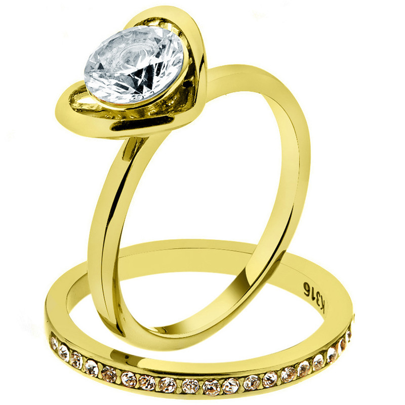 1.36Ct Round Cut Cz Gold Plated Stainless Steel Wedding Ring Set Women's Sz 5-10