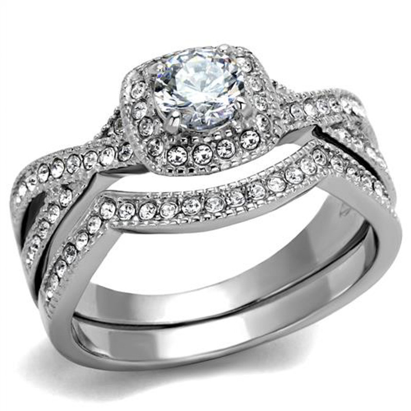 ST2296-RTM3644 Silver Stainless Steel & Titanium His & Her 3pc Wedding Engagement Ring Band Set