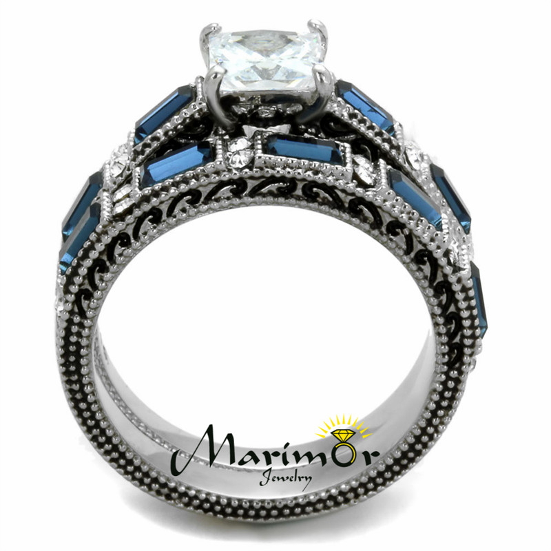 ST1829-RM2462 Stainless Steel Antique & Brush Metal His & Her 3pc Wedding Engagement Ring Set