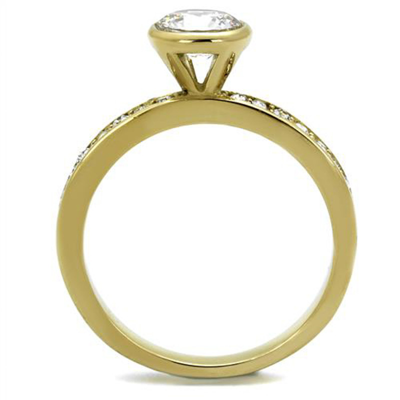 ARTK2254 Women's Gold Plated Stainless Steel .91 Ct Round Cut Cz Engagement Ring Sz 5-10