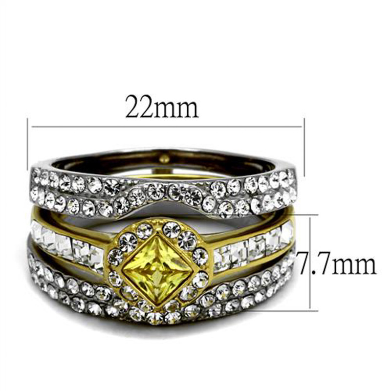 ARTK2291 Stainless Steel Women's Mulit-Stone Cz Two-Toned Wedding Ring Band Set Size 5-10