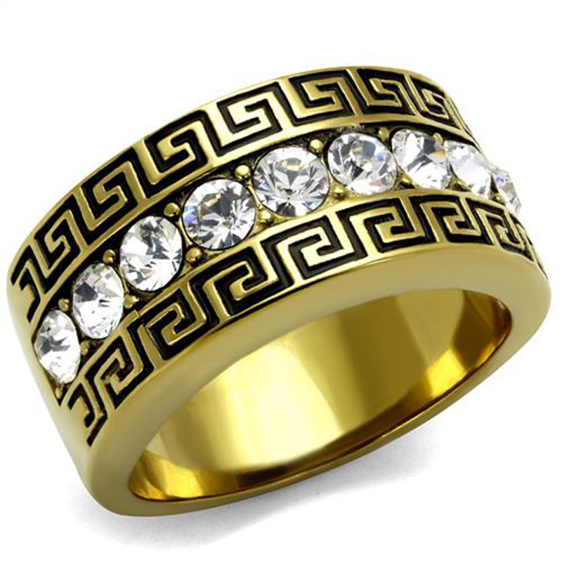 Men's 14K Gold Plated Stainless Steel Simulated Diamond Greek Key Ring Size 8-13
