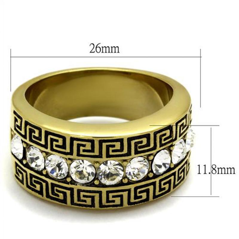 ARTK2310 Stainless Steel 14K Gold Plated Simulated Diamond Greek Key Ring Men's Size 8-13