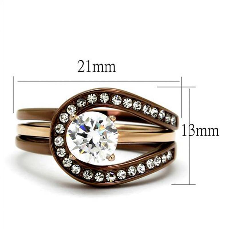 ARTK2032LC Gold & Brown Stainless Steel 1Ct Cz Rose 2 Piece Wedding Ring Set Womens Sz 5-10