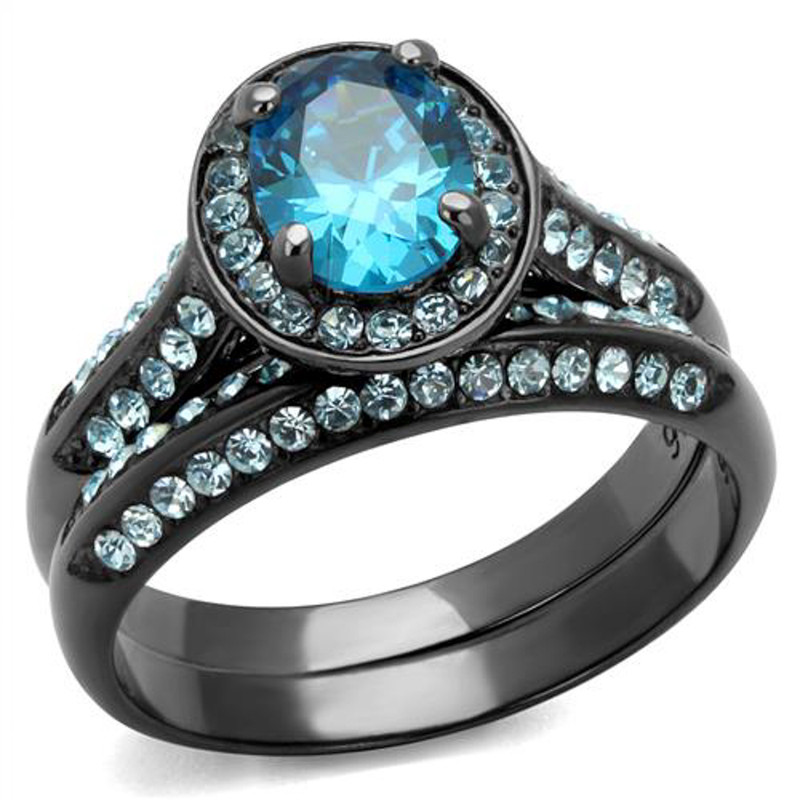 ARTK1W163LJ Gray Stainless Steel 2.65 Ct Sea Blue Cz Halo Wedding Ring Set Women's Size 5-10