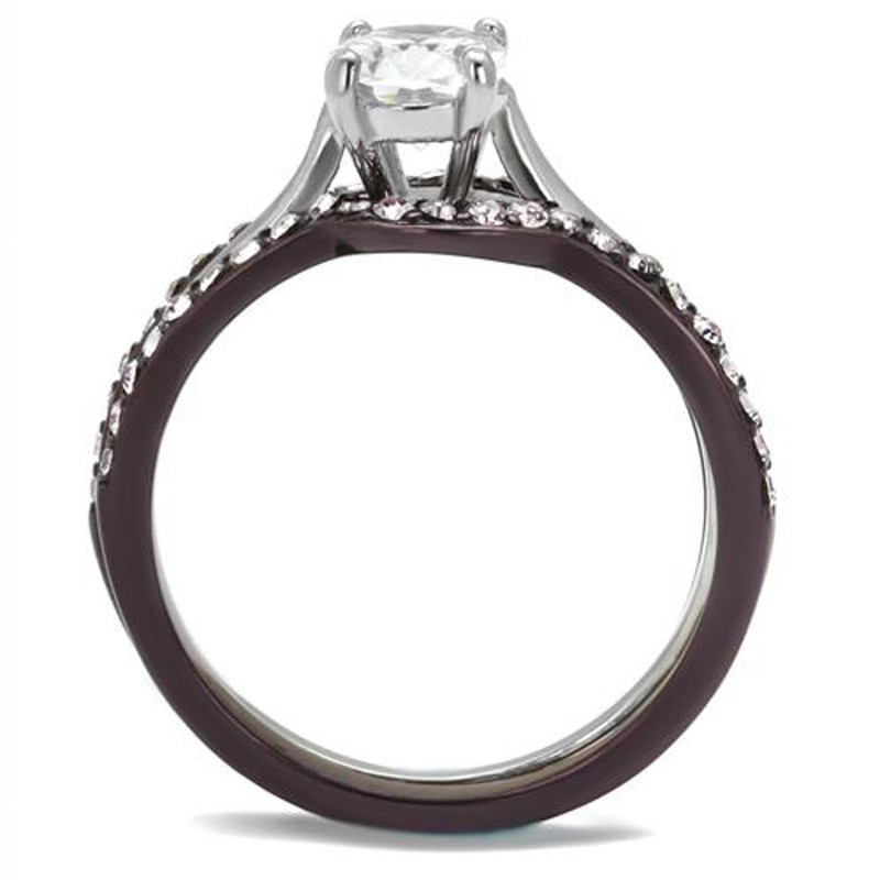 ARTK1344PC Brown IP Stainless Steel 2.15 Ct Oval Cut CZ Wedding Ring Set Women's Size 5-10