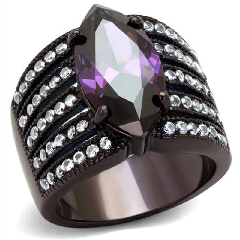 Women's 5.82Ct Marquise Amethyst CZ Brown Plated Stainless Steel Engagement Ring