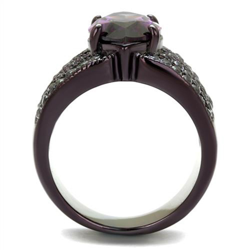 ARTK1752DC Brown Plated Stainless Steel Women's 5.82Ct Marquise Amethyst CZ Engagement Ring
