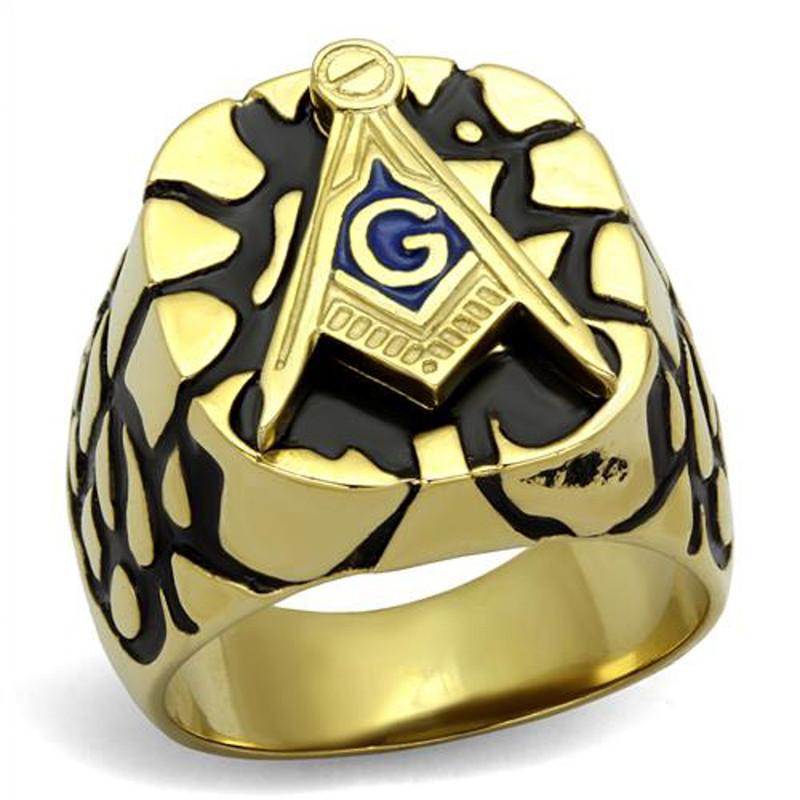 Stainless Steel Gold Plated & Epoxy Masonic Lodge Freemason Ring Men's Size 8-13