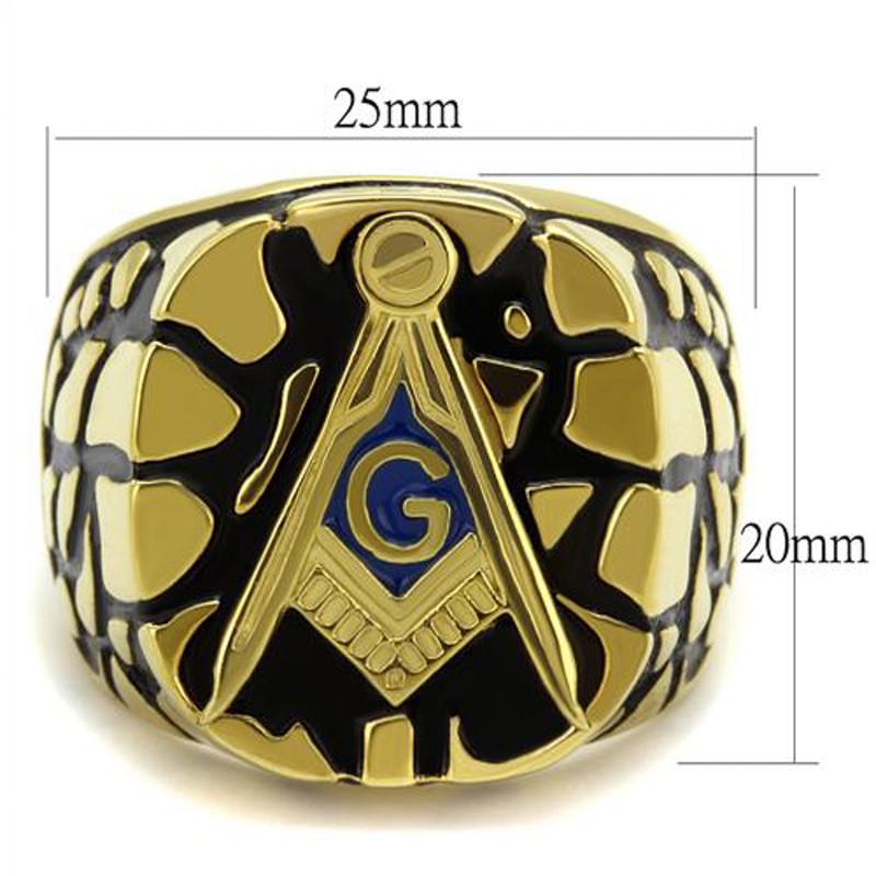 ARTK2372 Men's Stainless Steel Gold Plated & Epoxy Masonic Lodge Freemason Ring Size 8-13