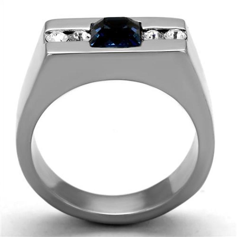 ARTK2307 Stainless Steel 1.68Ct Montana Princess Cut Simulated Diamond Ring Men's Sz 8-13