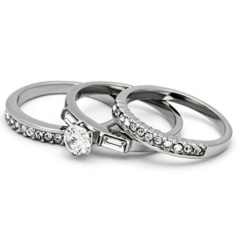 ARTK973 Women's 1Ct Round Cut & Baguette 3 Piece Wedding & Engagement Ring Set Size 5-10