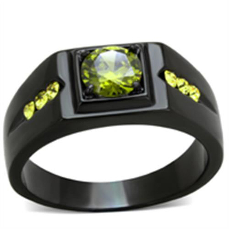 Men's 1 Ct Olivine Green Simulated Diamond Stainless Steel Black Ion Plated Ring
