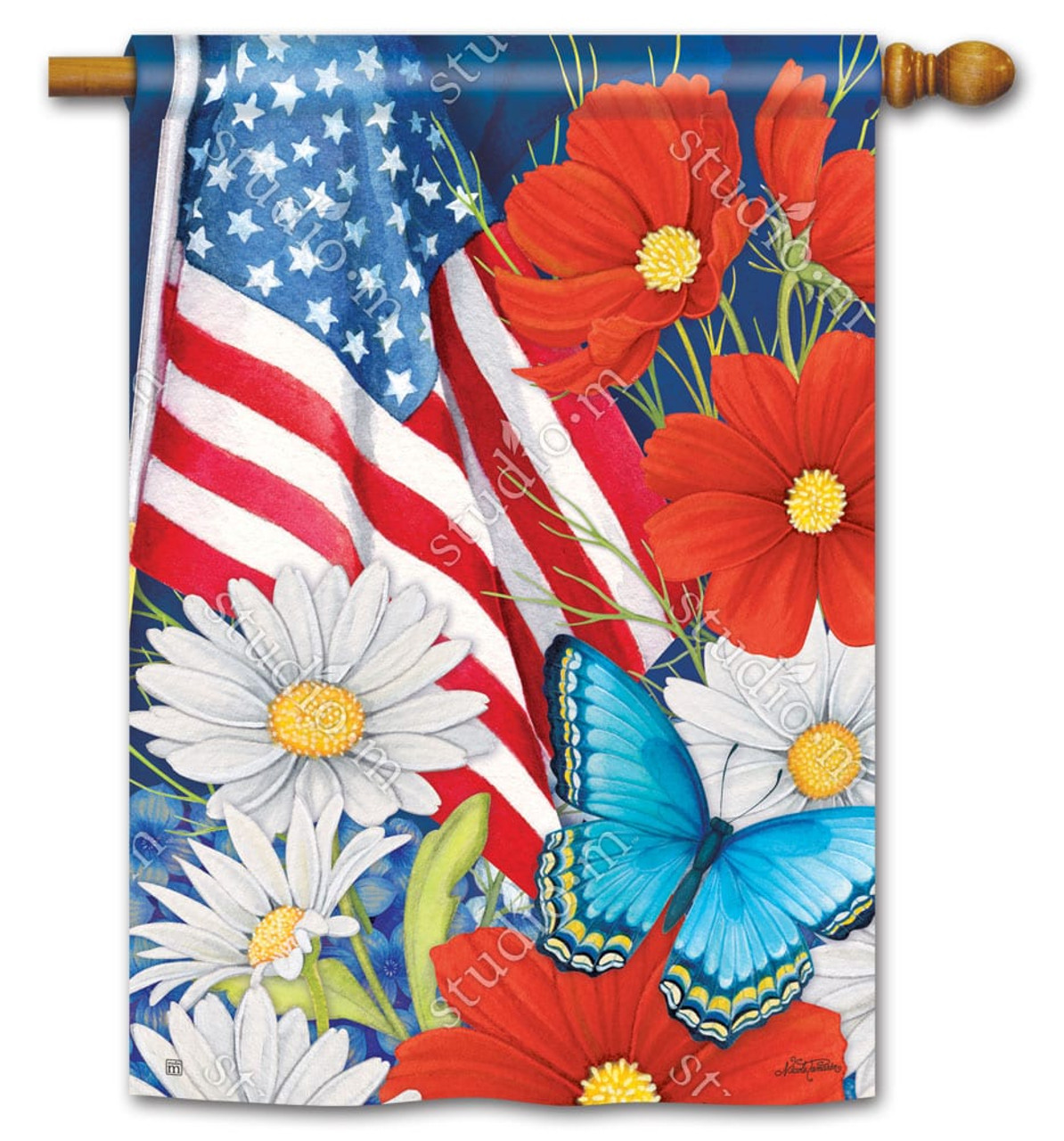 Red White And Blue Patriotic House Flag Breezeart