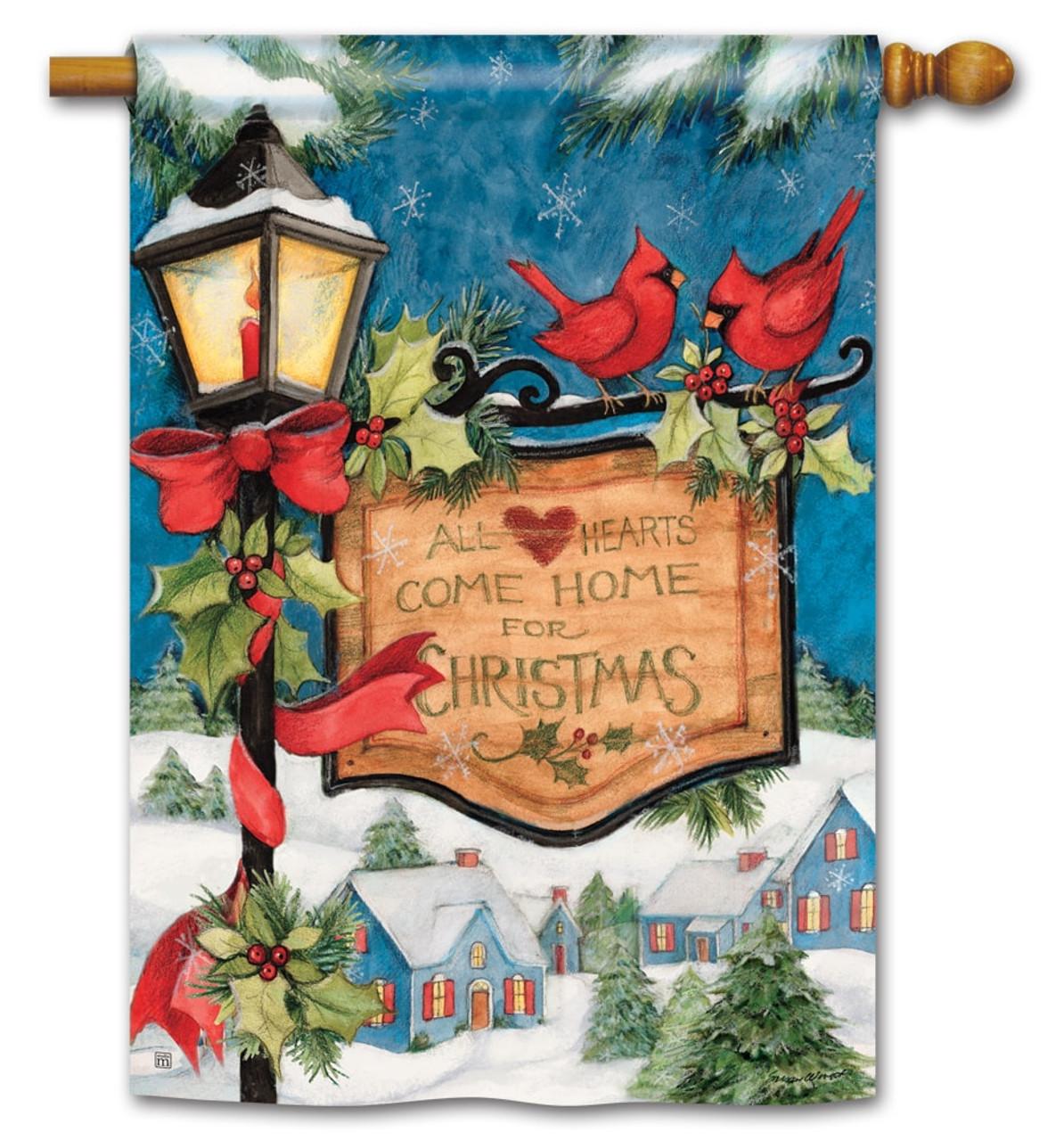 hometown christmas house flag breezeart