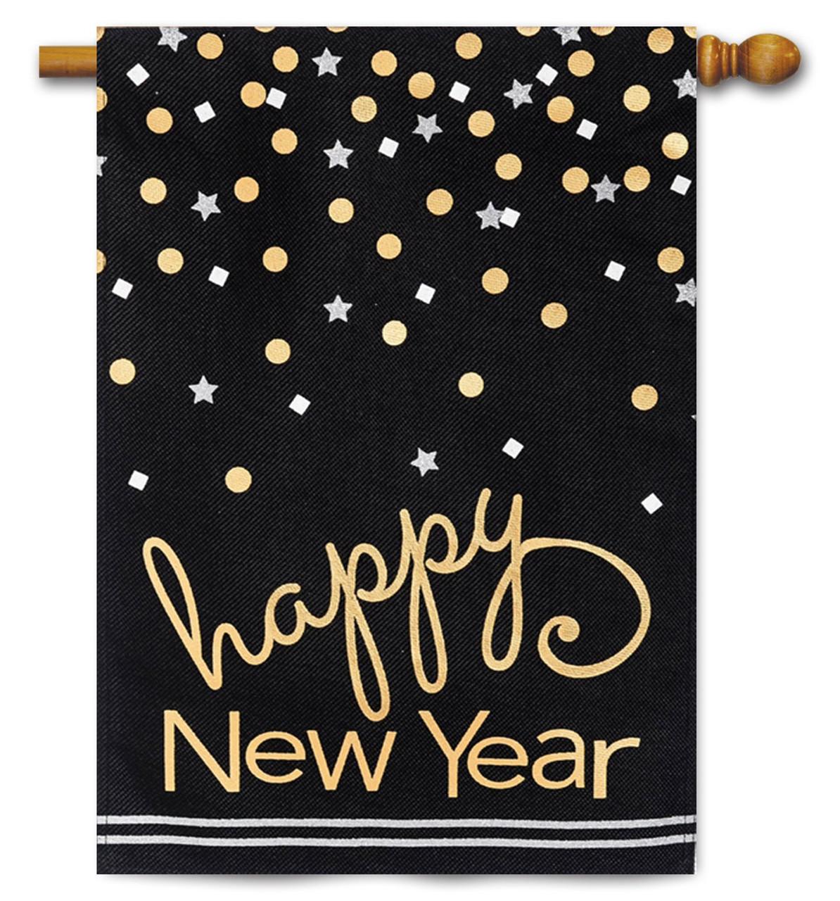 happy new year burlap house flag evergreen