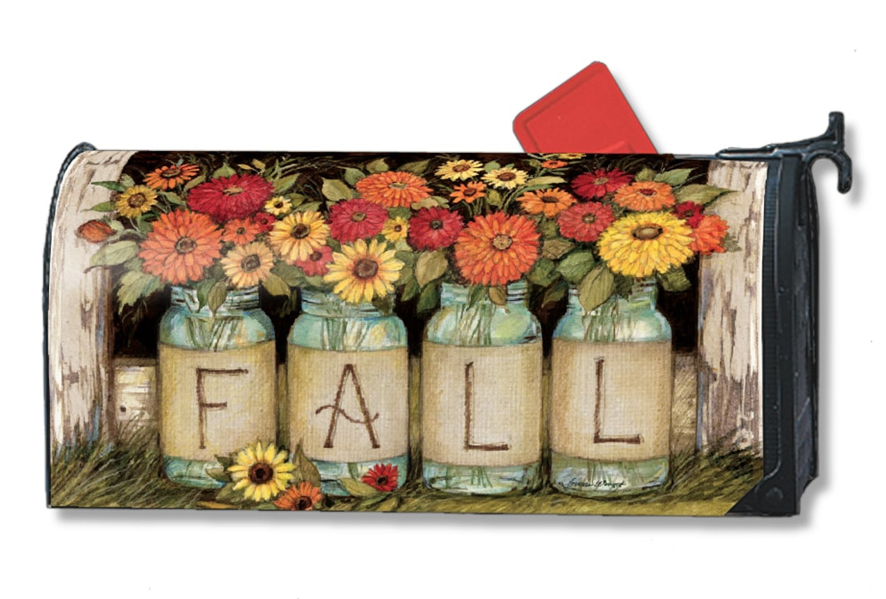 superior Magnetic Mailbox Covers Part - 16: Fall Mason Jars Magnetic Mailbox Cover