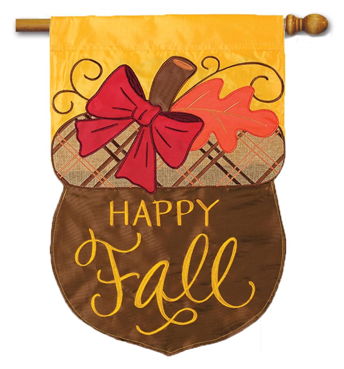 Happy Fall Acorn Applique House Flag - Flag Trends