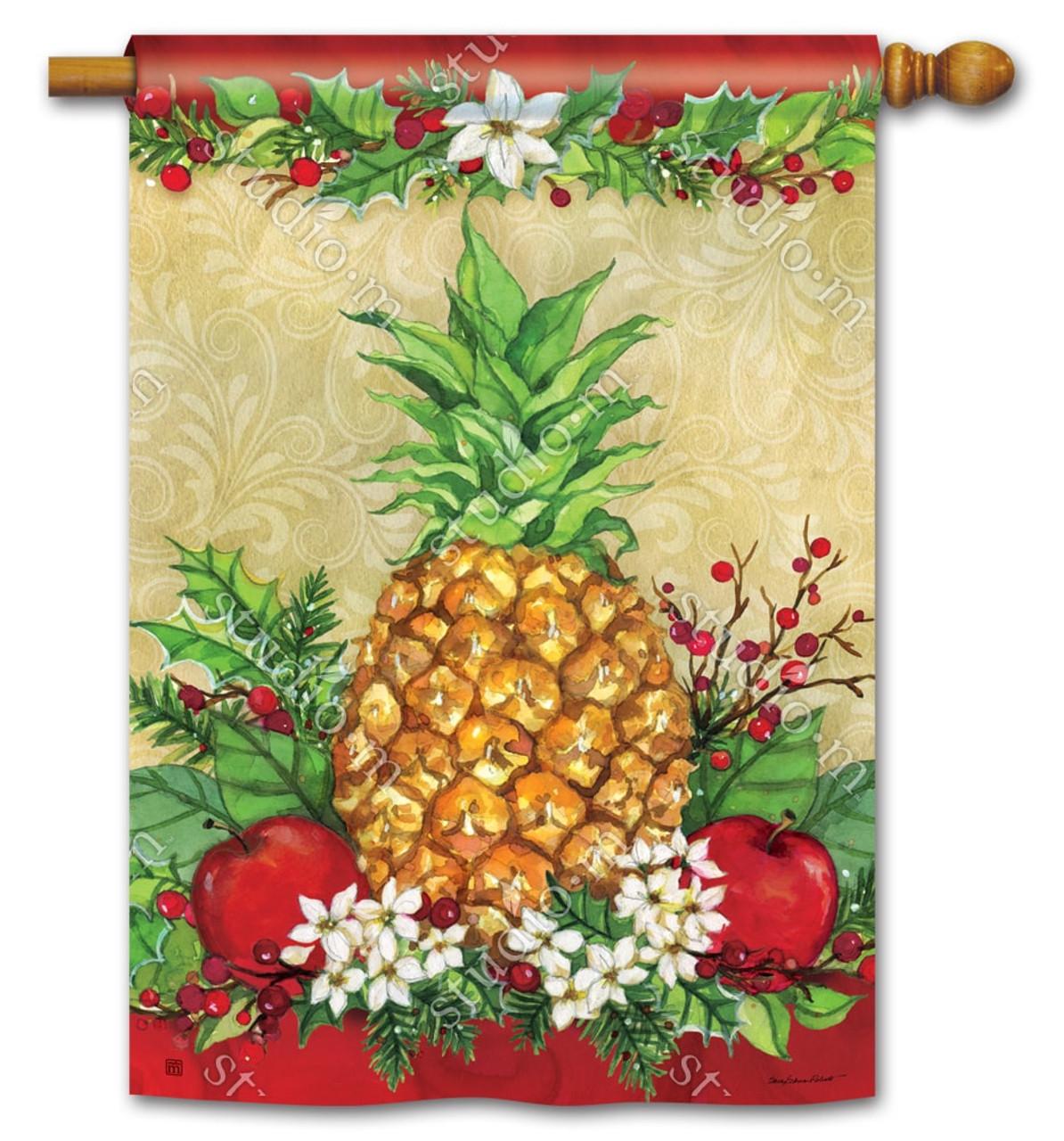 Holiday Pineapple House Flag - Christmas BreezeArt Flags