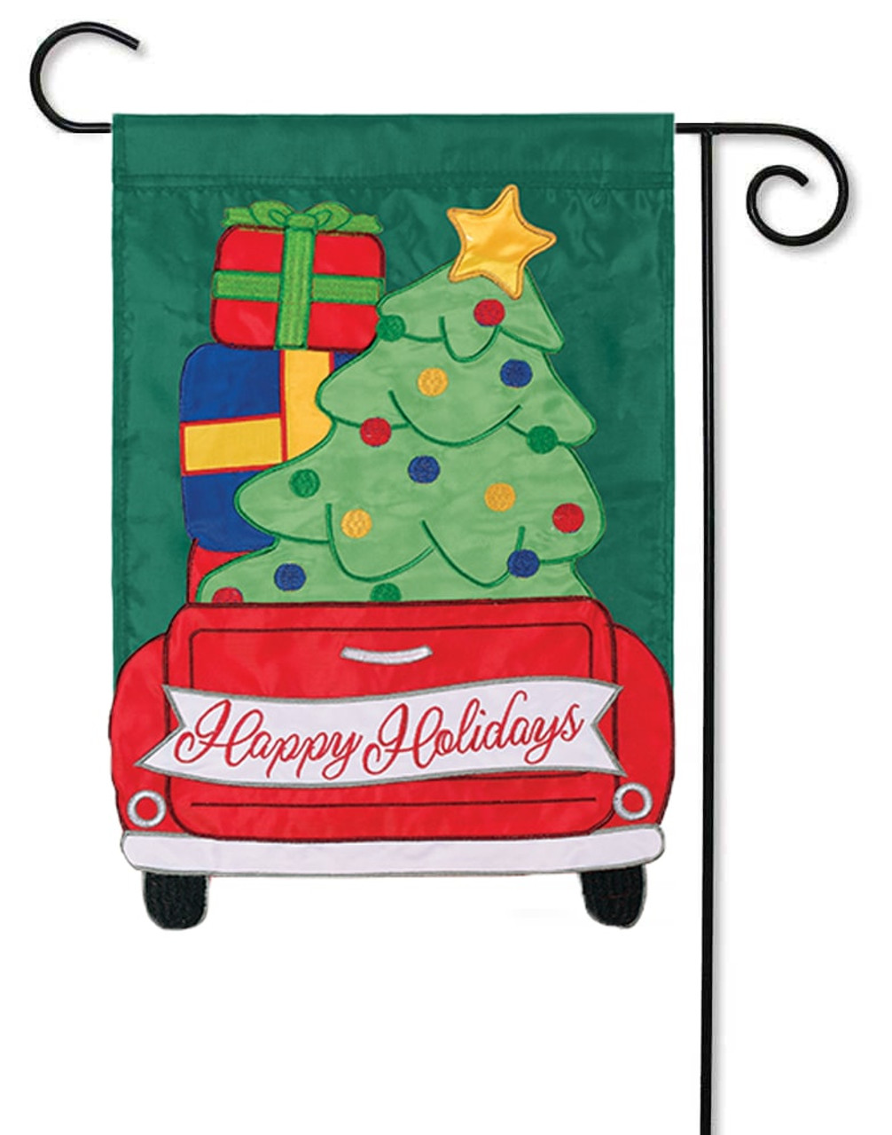 christmas truck applique decorative garden flag