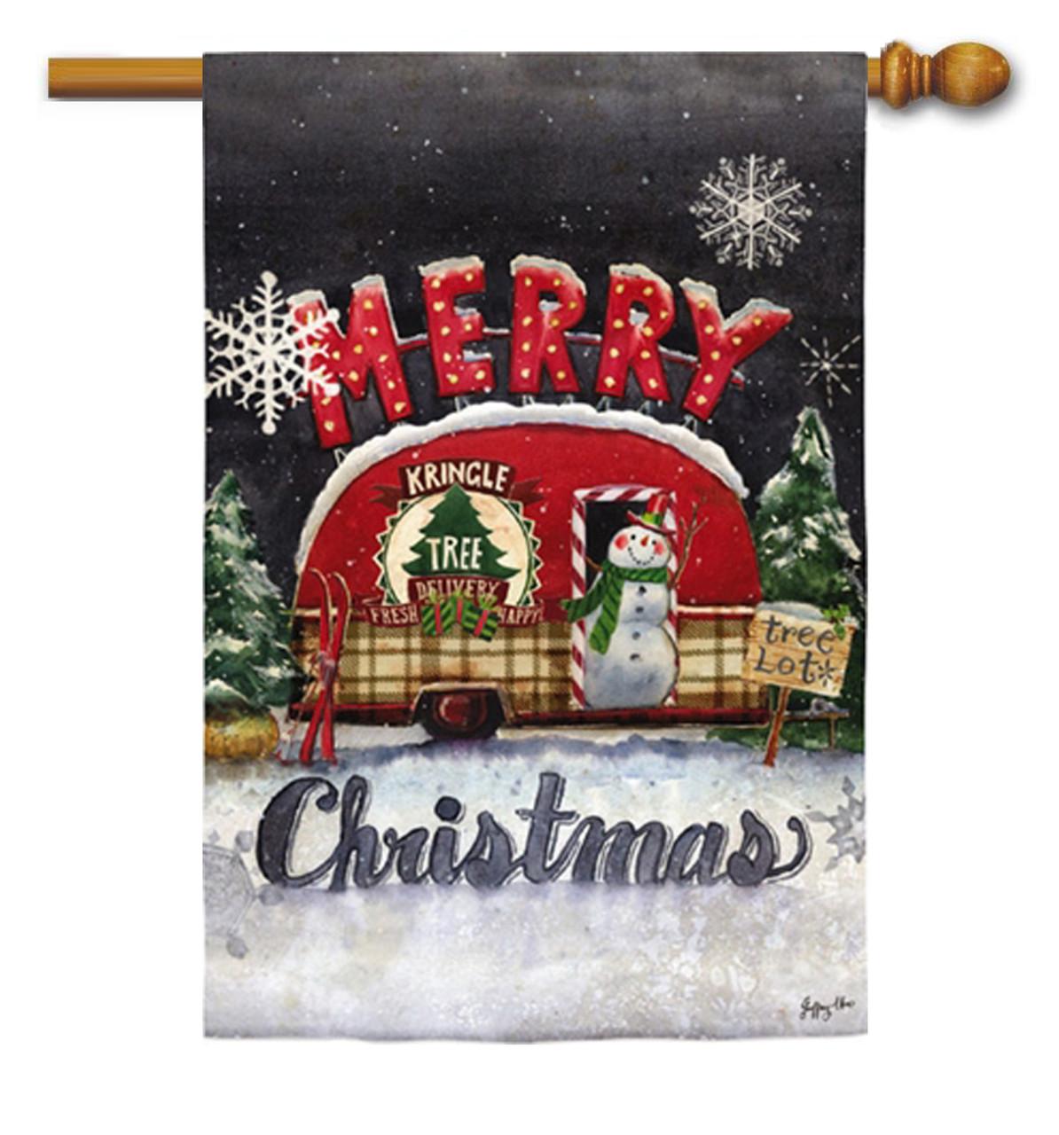 tree lot plaid merry christmas house flag evergreen