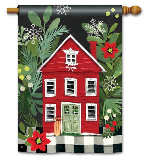 homespun christmas house flag 28 x 40 breezeart