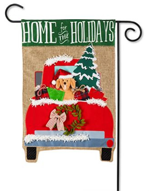 Christmas In Evergreen Truck.Home For The Holidays Burlap Garden Flag 12 5 X 18 Evergreen 2 Sided Message