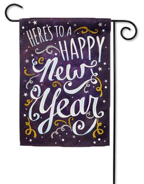 happy new year garden flag 125 x 18 evergreen 2 sided