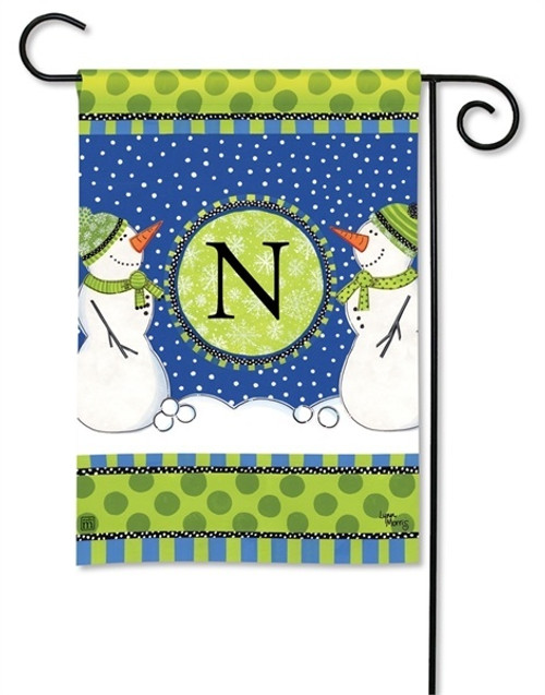 BreezeArt Winter Frolic Monogram Decorative Garden Flag - N