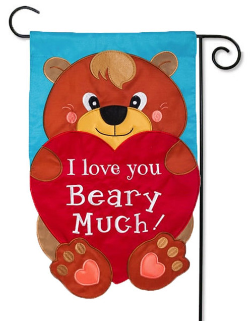 I Love You Beary Much Applique Valentine Garden Flag