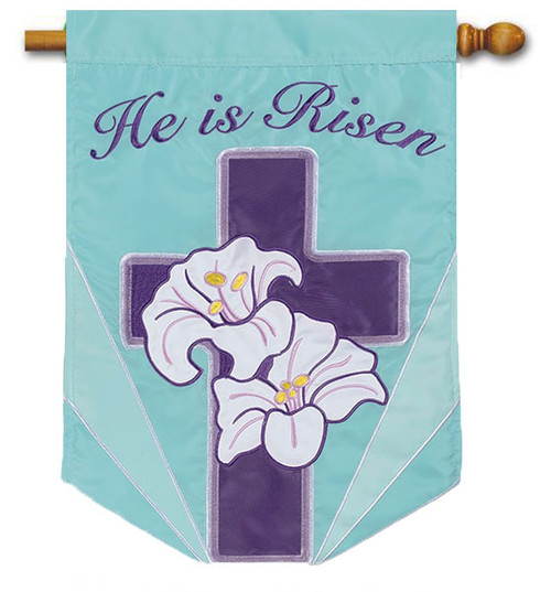 Lily Cross Applique Easter Decorative Outdoor House Flag