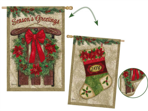 vintage holiday house flag 29 x 43 evergreen evergreen flags - Decorative Christmas Flags