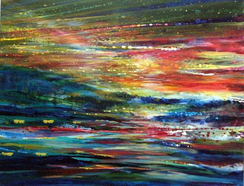 Rainbow Landscape Original  framed By Yoram Ranaan- SOLD