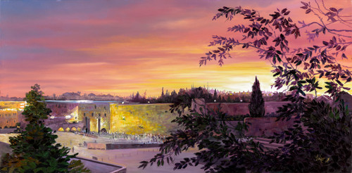 The Kotel in the Leaves Oriiginal by Menucha Yankelevitch