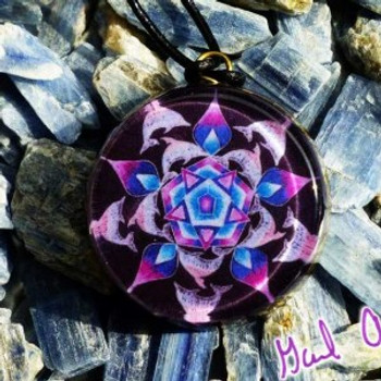 Orgone Pendant, Dolphins and the Power of Five – Mandala by Gail Alexander